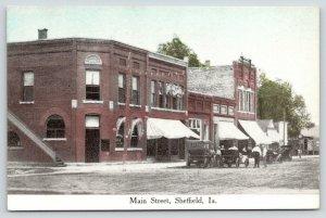 Sheffield Iowa~Cars & Pedestrians on Main St (No Buggies)~Bank & Hardware~c1910