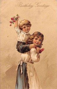 Birthday Greetings Children Boy holding Roses PFB Vintage Postcard JJ658765
