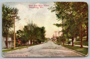 Reedsburg Wisconsin~West Side Main Street~Homes Both Sides~Residential~1914 PC
