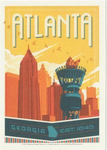 Postcard of Atlanta Georgia Travel Poster Style Postcard