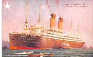 White Star Line Cunard Ship Post Card, Old Vintage Antique Postcard Twin Scre...