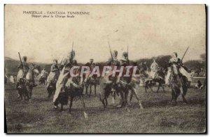 Old Postcard Militaria Marseille Tunisian Fantasia Departure for the final ch...