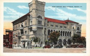 Vintage 1920s USA Postcard, Post Office San Antonio Texas, Classic Cars 65Y