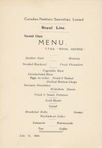 Royal Line Ocean Liner T.T.S.S. ROYAL GEORGE 1910 ; 2nd Class Menu