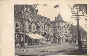 St Stephen N.B. Water Street Storefronts Near Windsor Hotel Horse & Wagons RPPC
