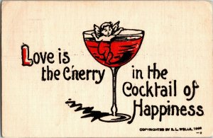 Cupid in Wine Glass, Love is Cherry in Cocktail of Happiness Vtg Postcard A33