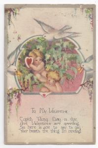 Valentine Cupids Doves Heart  Poem Vintage Postcard posted 1928