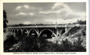 COLUMBIA, SC South Carolina   JEFFERSON DAVIS  Highway BRIDGE c1950s    Postcard