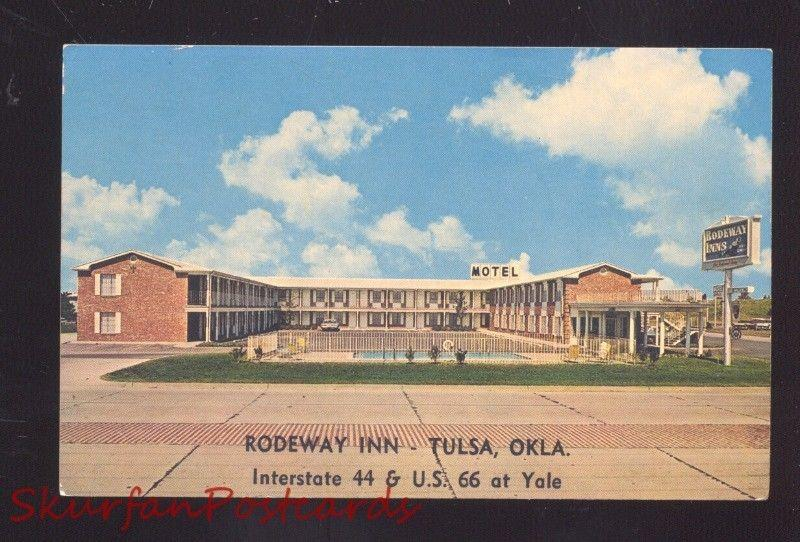 TULSA OKLAHOMA ROUTE 66 RODEWAY INN MOTEL VINTAGE ADVERTISING POSTCARD