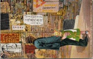 The Latest News Chinatown San Francisco CA Man Child c1930 Postcard F29