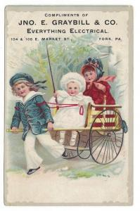 Victorian Trade Card Jno Graybill Electrician Children Cart