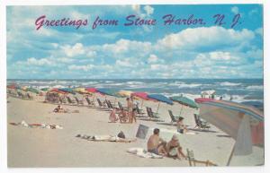 Greetings from Stone Harbor NJ Umbrellas Beach Chairs Ocean Surf Vntg Postcard