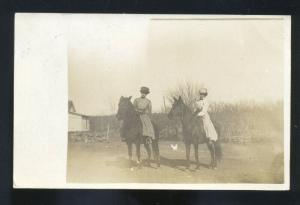 RPPC KANAPOLIS KANSAS WOMEN HORSEBACK RIDING HORSE REAL PHOTO POSTCARD