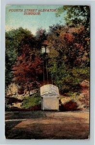 Dubuque IA, 4th Street Elevator, Advertising 5 Cent Ride, Vintage Iowa Postcard