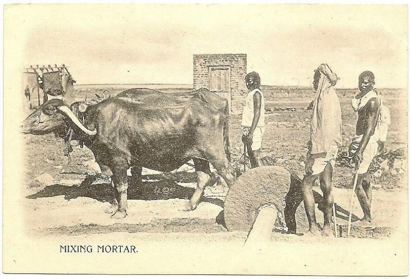 India MIXING MORTAR vintage UB postcard