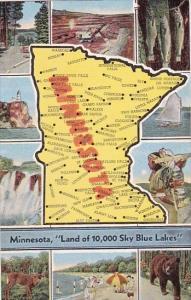 Map Of Minnesota Land Of 10,000 Sky Blue Lake Minnesota