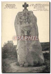 Old Postcard Dolmen Standing Stone Calvary St Duzec in Pleumeur near Lannion