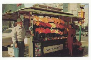 CA San Francisco Street Flower Vendor Stand Stockton and Geary Sts Vtg Postcard