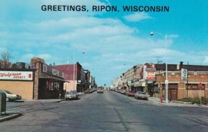 Wisconsin Greetings From Ripon Showing Watson Street