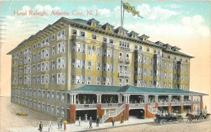 Atlantic City NJ~Hotel Raleigh~Horse Buggy~Vintage Car~Pedestrians~Artist 1914