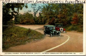 Cumberland MD - HAGERSTOWN MARYLAND - NATIONAL HIGHWAY POLISH MOUNTAIN Postcard