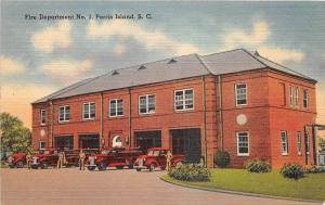 D51/ Parris Island South Carolina SC Postcard Linen Fire Department Trucks