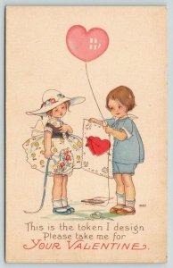 MEP Valentine~Margaret Evans Price~Boy With Card Token~Heart Balloon~Girl~1404 D