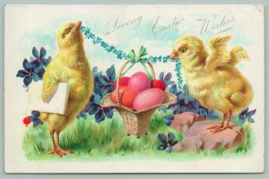 Easter Fantasy~Chicks Hold Up Basket Of Eggs With Blue Flower Rope~TUCK 1906