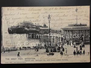 c1906 East Sussex: The West Pier, Brighton - 'Opened 1866' Enlarged 1893