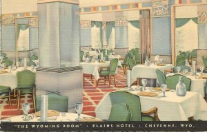 Nice Linen Postcard, Wyoming Dining Room, Plains Hotel Cheyenne WY Art Deco