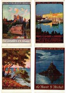 ADVERTISING TRAINS, CHEMIN DE FER POSTER STYLE 33 Vintage Postcards (L2735)