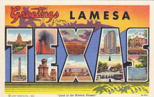 Large Letter Greetings from lamesa, Texas, 30-40s