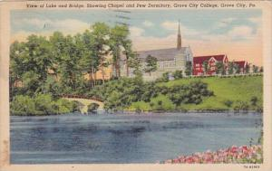 Pennsylvania Grove City View Of Lake And Bridge Showing Chapel And Pew Dormit...