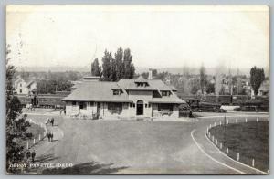 Payette ID~Train Engine Leaving Railroad Depot~Passengers Walk From Station 1907