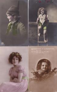 Children in Fancy Dress 4x Antique Glamour Old Fashion Postcard s