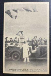 Mint French Congo Real Picture Postcard RPPC Brazzaville General De Gaulle Arriv