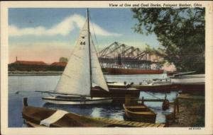 Fairport OH Ore & Coal Docks Linen Postcard