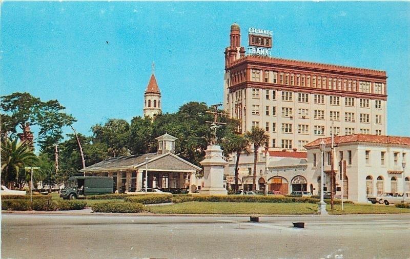 St Augustine Florida~Public Slave Market~Monument~Exchange Bank Time & Temp~1970
