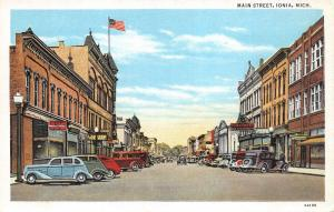 Ionia Michigan~Main Street~Storefronts~Consumers Gas & Electric~1936 Postcard