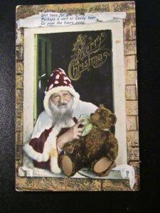 Father Christmas-teddy bear-polka dot hat