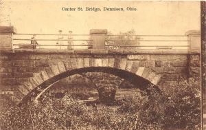 C65/ Dennison Ohio Postcard 1909 Center Street Bridge Stone Arch
