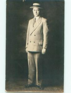 Old rppc MAN - MEN - MALE Possible Gay Interest Postcard AB1756