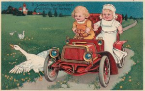 Toddlers in an automobile # 2, 1900-10s; PFB 7318