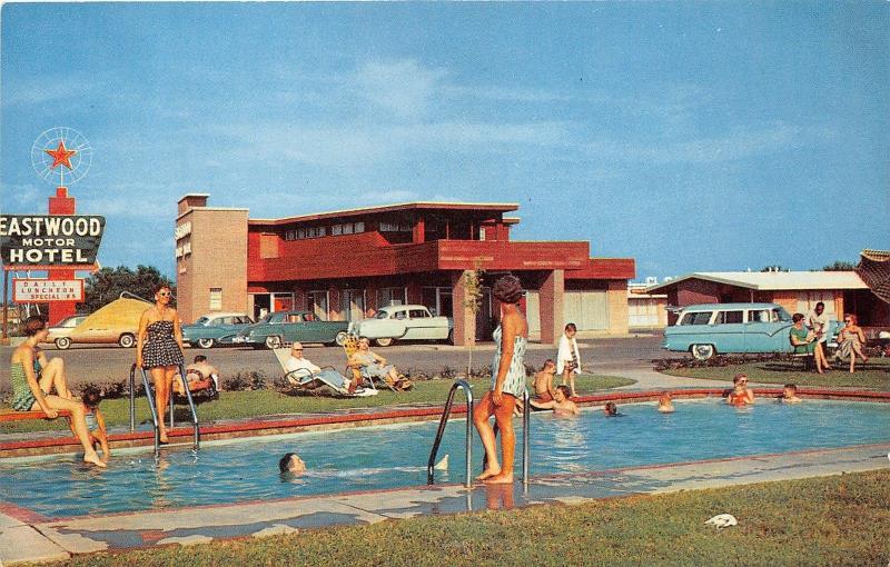 Longview Texas Eastwood Motor Hotel On Route 80 People Swimming Pool 50s