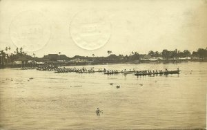 indonesia, BORNEO PONTIANAK, Native Regatta on the River (1919) RPPC Postcard