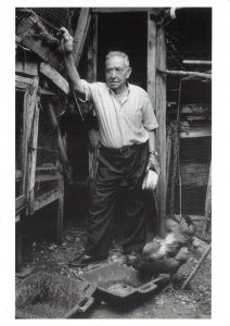 Postcard, Old Man with Chickens, Chicken Coop, Photo by Guy Moberly CM8
