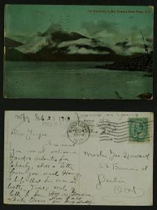 Up Kootenay Lake Crows nest pass BC  pmk winnipeg 1910