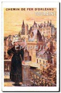Postcard Old Train Railways & # 39Orleans Touraine Folklore