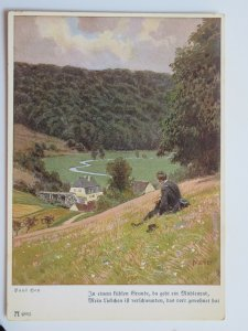 Man On a Hill Overlooking the Valley by Paul Hey Vintage German Postcard