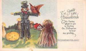Halloween Vintage Post Cards Scare Crow Unused